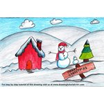 How to Draw a Christmas Snowman Scene