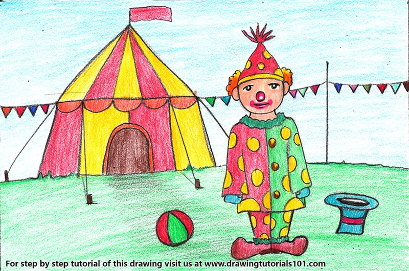 Clown with Circus for Kids Color Pencil Drawing