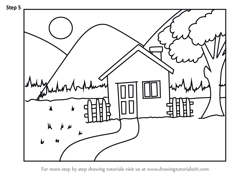Learn How To Draw An Easy House Scenery Scenes Step By Step