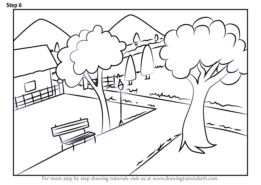 Learn How To Draw A Garden Scenery Scenes Step By Step Drawing Tutorials
