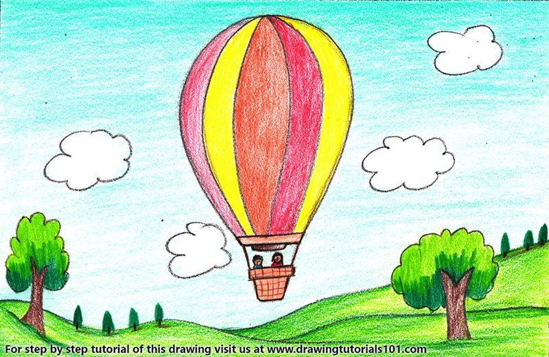 Hot Air Balloon Scene Color Pencil Drawing