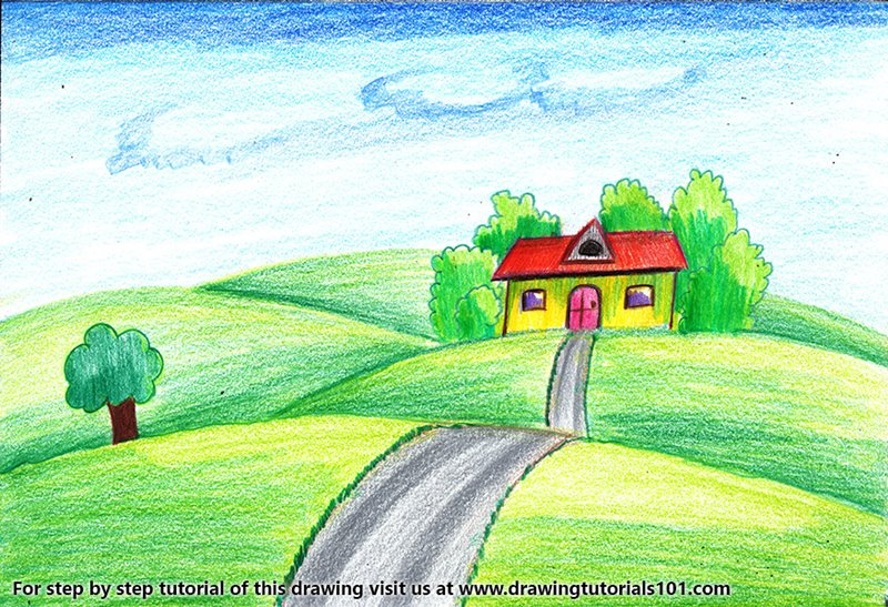 House on Fields of Grass Color Pencil Drawing