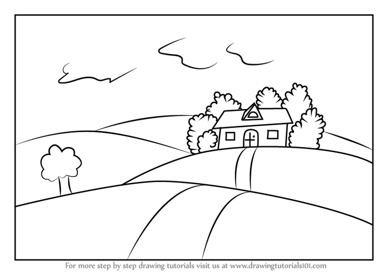 How To Draw A House On Fields Of Grass