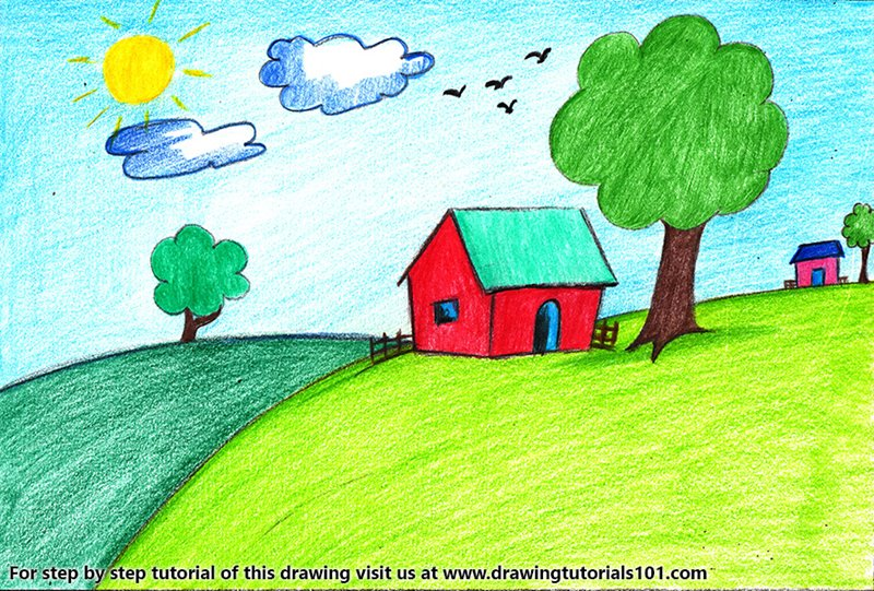 House Scenery For Kids Colored Pencils Drawing House Scenery For
