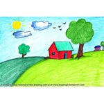 How to Draw a House Scenery for Kids
