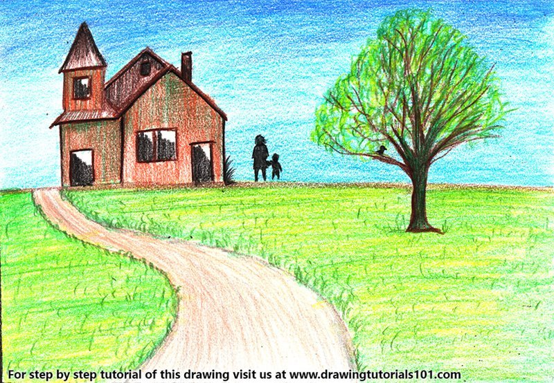 Learn How To Draw A House Scenery Scenes Step By Step Drawing Tutorials