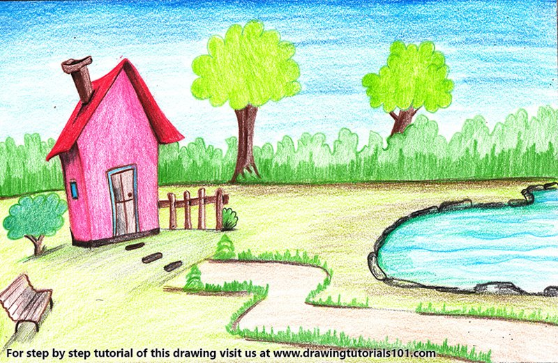 House with Garden and Pool Scene Colored Pencils - Drawing ...