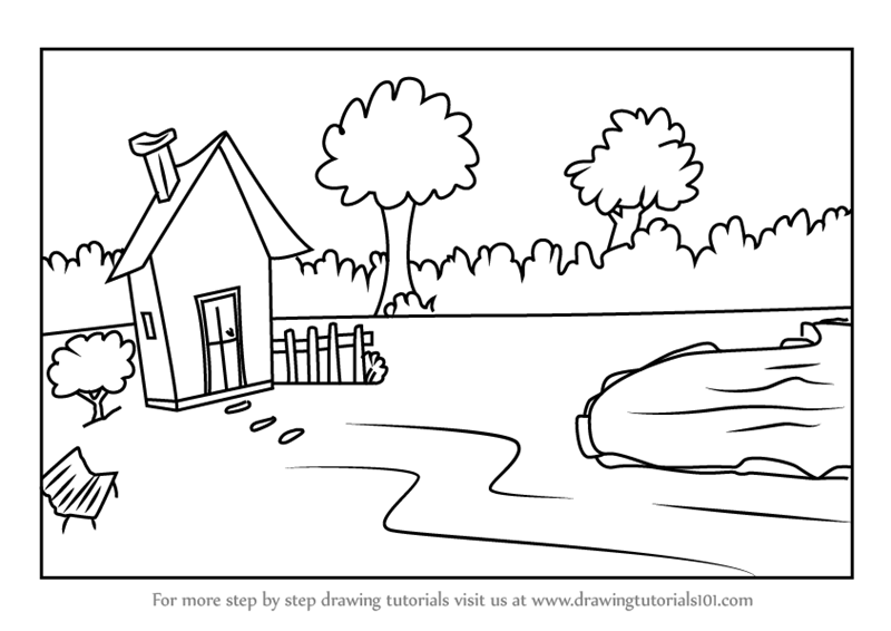 Learn How to Draw a House with Garden and Pool Scene ...