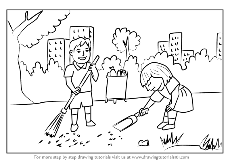Learn How To Draw Kids Cleaning Day Scene Scenes Step By Step