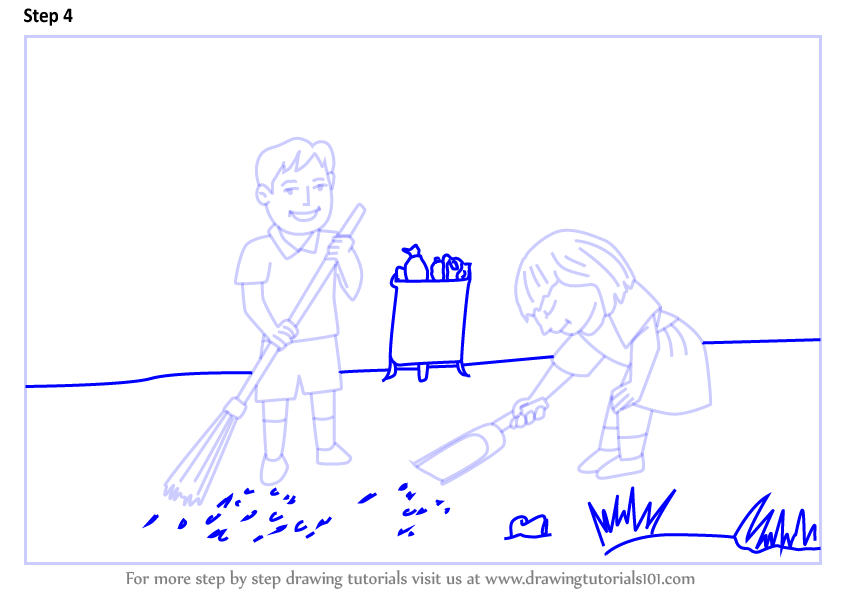 Learn How To Draw Kids Cleaning Day Scene Scenes Step By