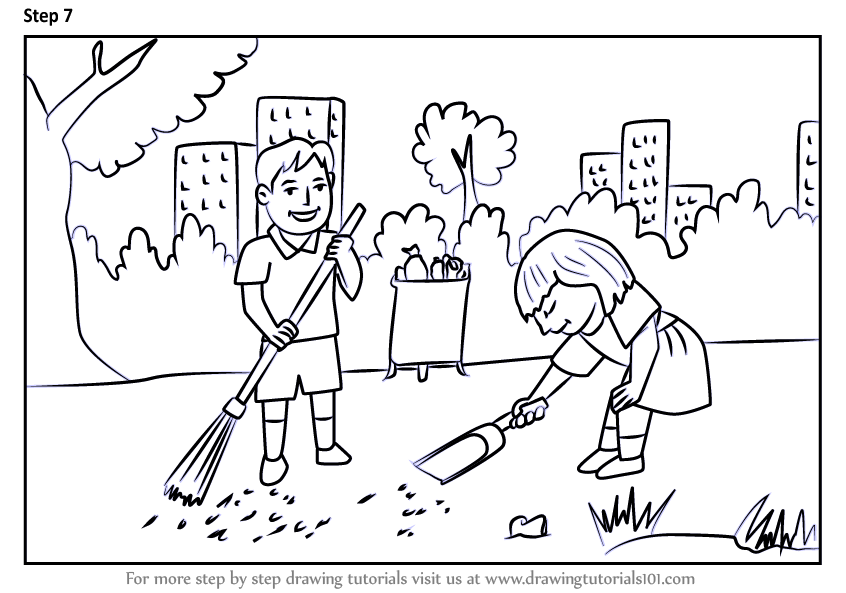 Learn How to Draw Kids Cleaning Day Scene (Scenes) Step by ...