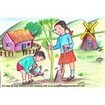 How to Draw Kids Planting Tree Scenery