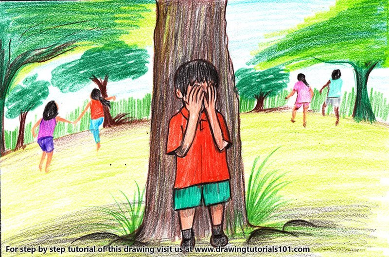 Kids Playing Hide and Seek Game Color Pencil Drawing