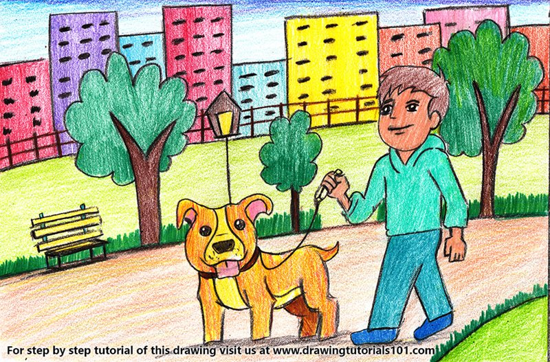 Man Walking Dog Scene Color Pencil Drawing