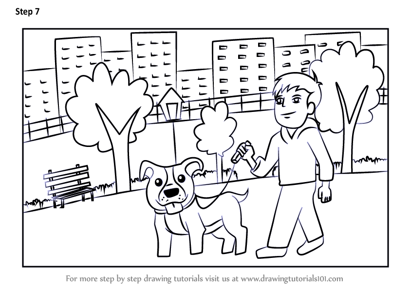 Learn How To Draw A Man Walking Dog Scene Scenes Step By