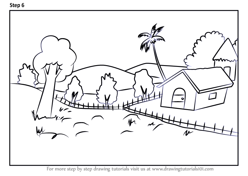 Learn how to draw nature drawing scenes step by step for How to draw nature step by step