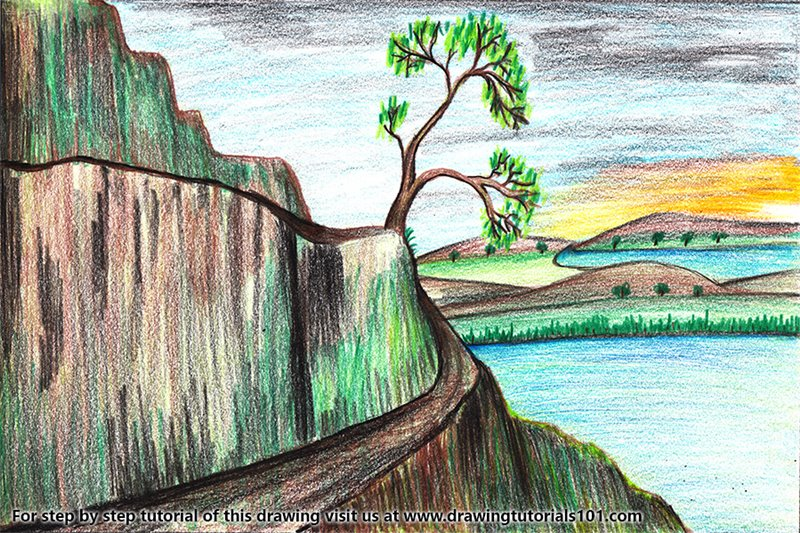 Nature Scene Colored Pencils Drawing Nature Scene With Color Pencils Drawingtutorials101 Com