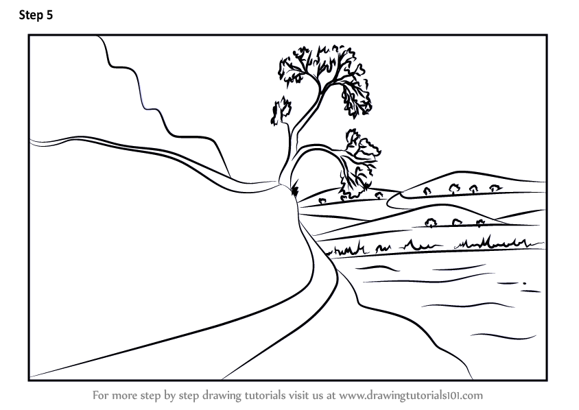 Learn How To Draw Nature Scene Scenes Step By Step Drawing Tutorials Nature scenes drawing at getdrawings | free download. to draw nature scene scenes step
