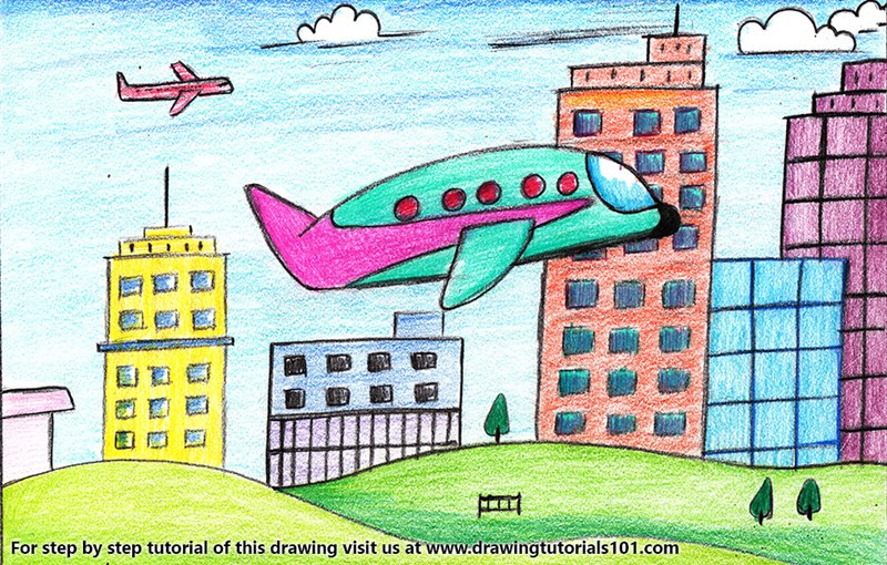 Plane flying in City Color Pencil Drawing