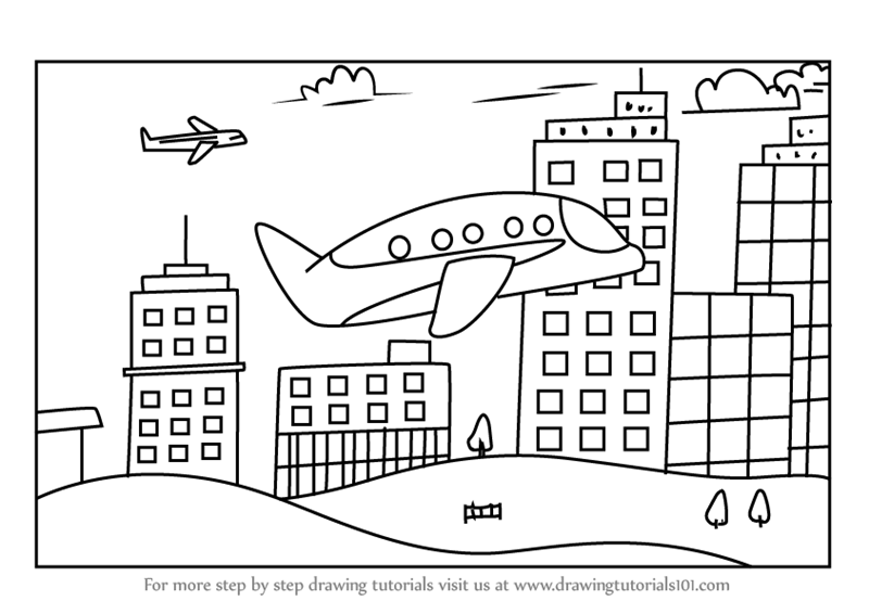 Learn How To Draw A Plane Flying In City Scenes Step By Step