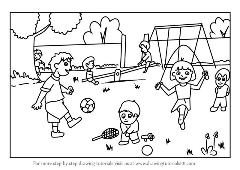 Learn How to Draw Playground Scene (Scenes) Step by Step : Drawing ...