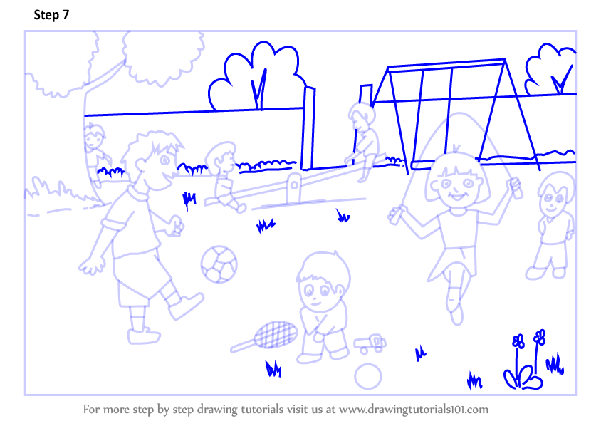 learn how to draw playground scene  scenes  step by step   drawing tutorials