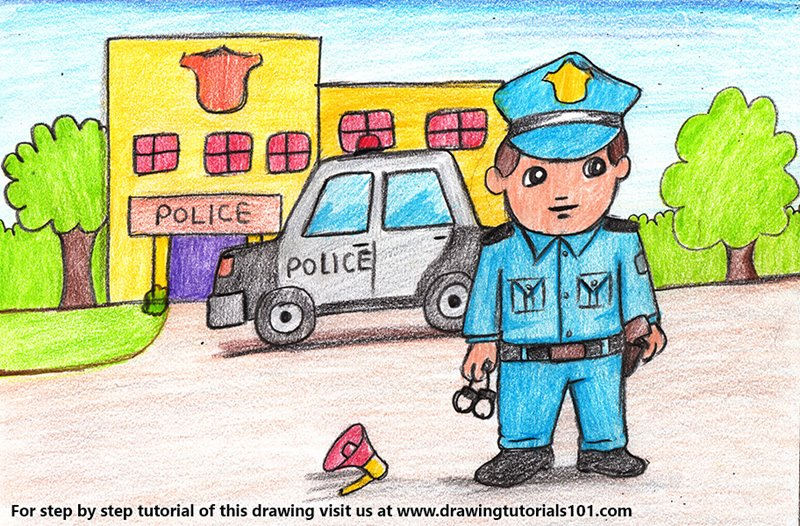 Policeman outside Police Station Scene Color Pencil Drawing