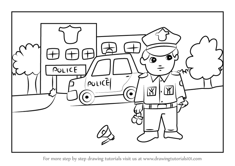 Step by Step How to Draw Policeman outside Police Station ...