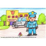 How to Draw Policeman outside Police Station Scene