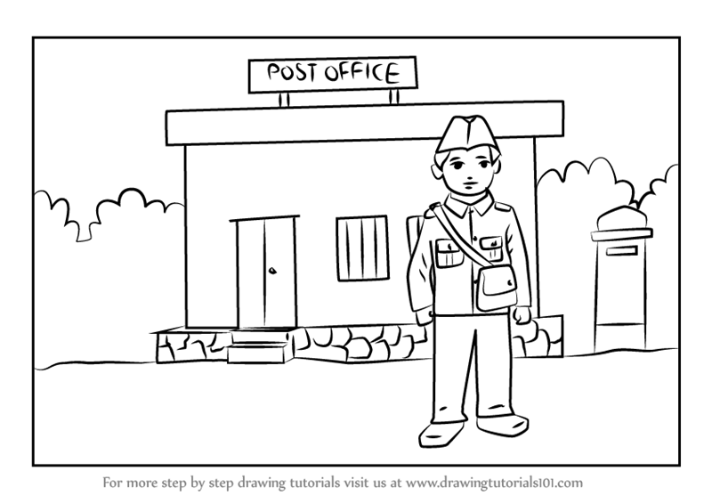 Learn How to Draw Postman outside Postoffice for Kids (Scenes) Step
