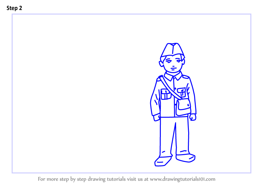 Learn How To Draw Postman Outside Postoffice For Kids Scenes Step