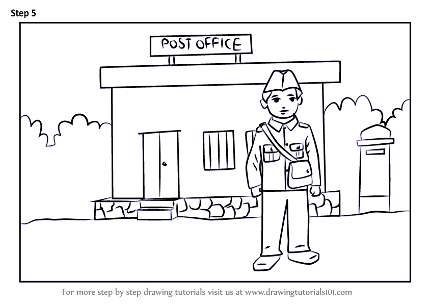 Learn How to Draw Postman outside