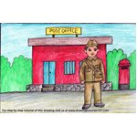 How to Draw Postman outside Postoffice for Kids