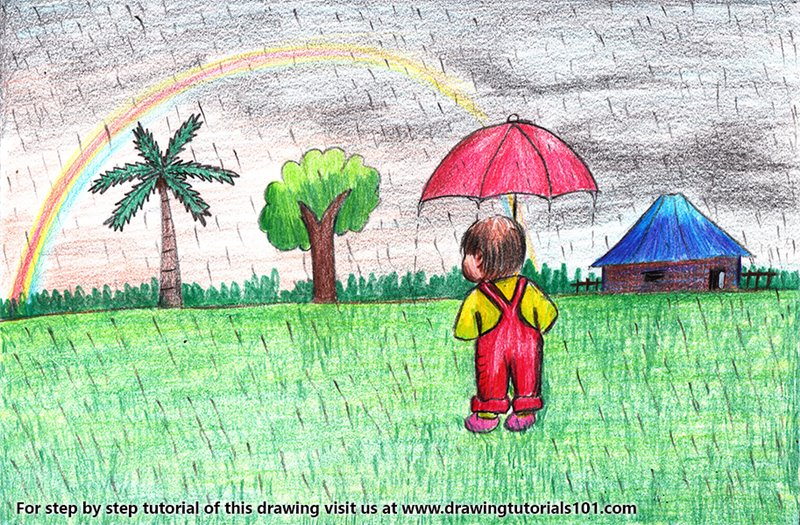 Rainy Day Scene Color Pencil Drawing