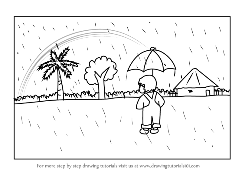 Learn How To Draw A Rainy Day Scene (Scenes) Step By Step