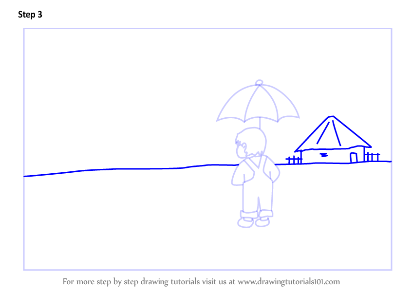 Learn How To Draw A Rainy Day Scene Scenes Step By Step