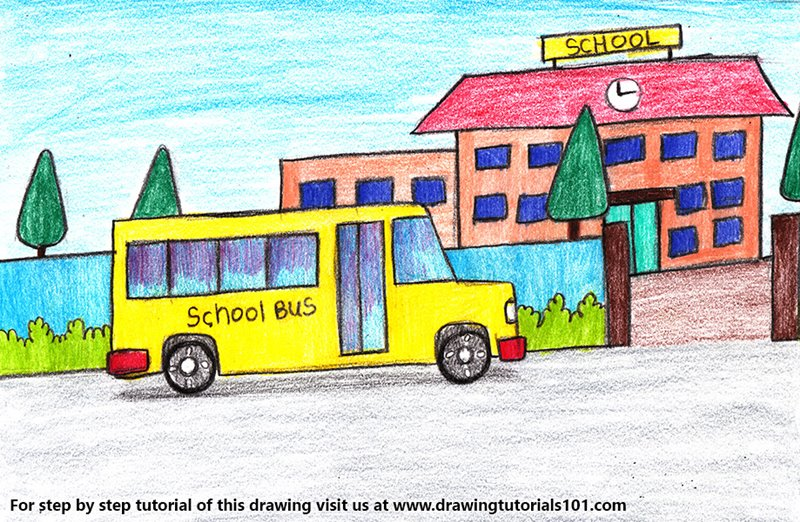 School Bus Scene Color Pencil Drawing