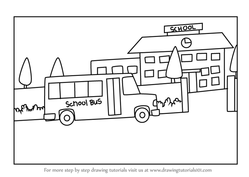 how to draw the front of a school bus