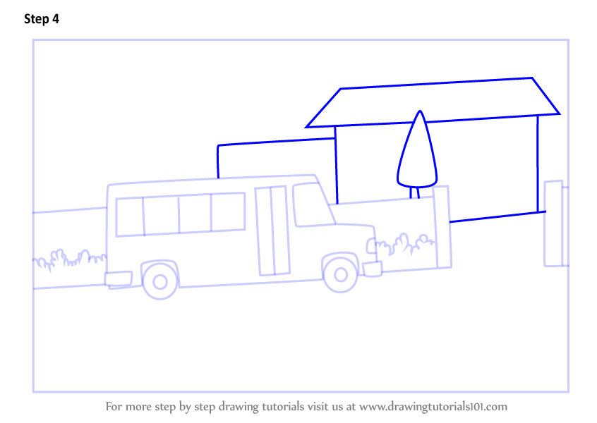 Learn How To Draw School Bus Scene (Scenes) Step By Step