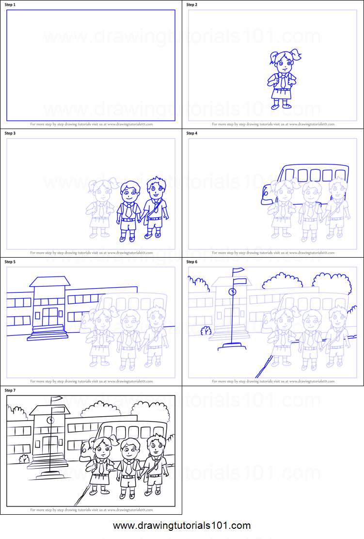 how to draw a school scene