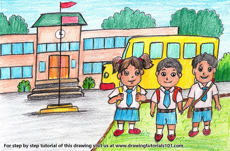 Students outside School Color Pencil Drawing
