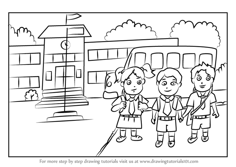 Learn How To Draw Students Outside School (Scenes) Step By