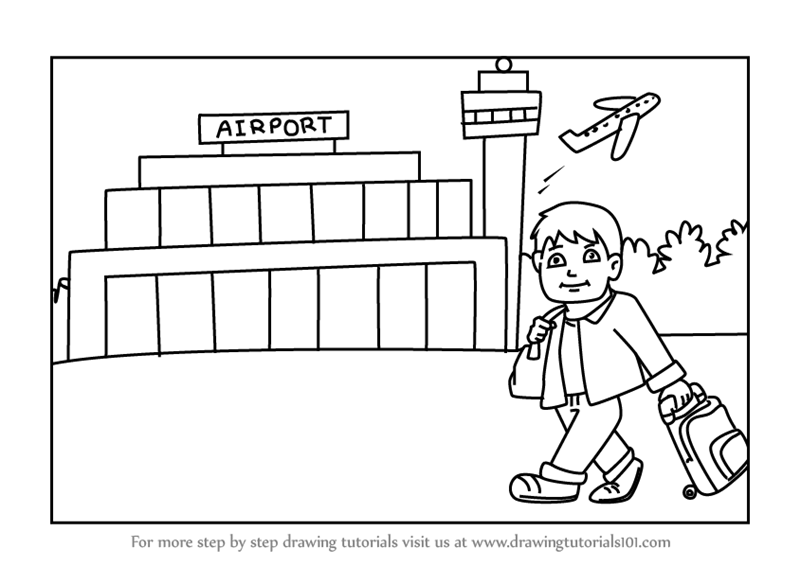 Airport Drawing Easy United Airlines And Travelling