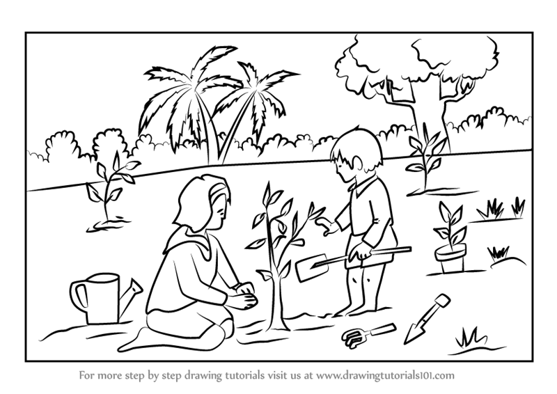 Learn How To Draw Tree Planting Scene Scenes Step By Step