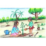 How to Draw Tree Planting Scene