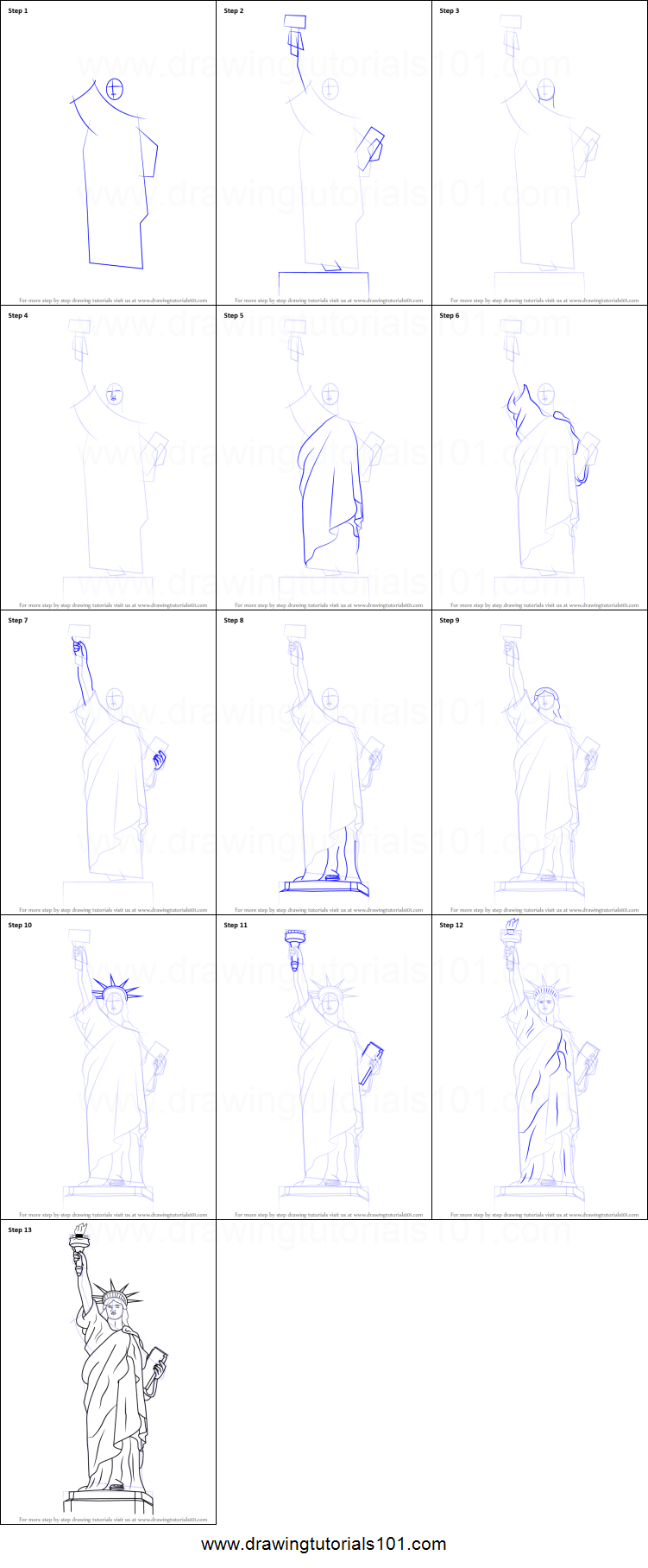 Statue Of Liberty Drawing Step By Step How to Draw Statue of Liberty printable step by step