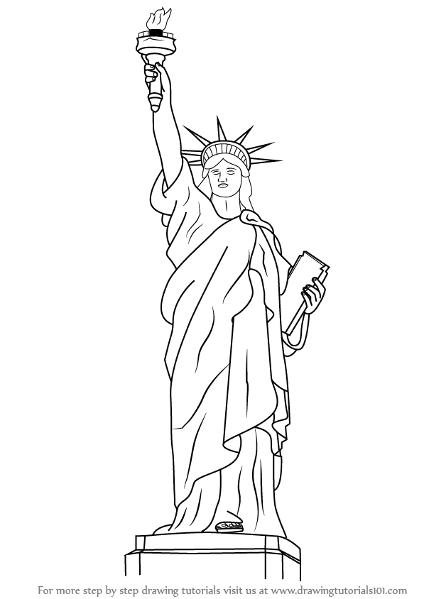 Learn how to draw statue of liberty statues step by step for Statue of liberty drawing template