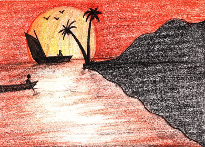 Learn How to Draw a Beach Sunset (Sunsets) Step by Step ...