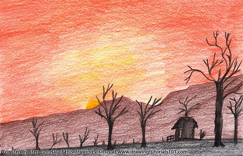 Sunset in Desert Color Pencil Drawing