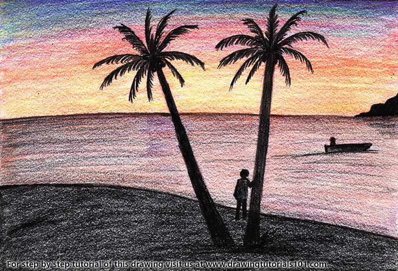 Sunset on Beach Color Pencil Drawing